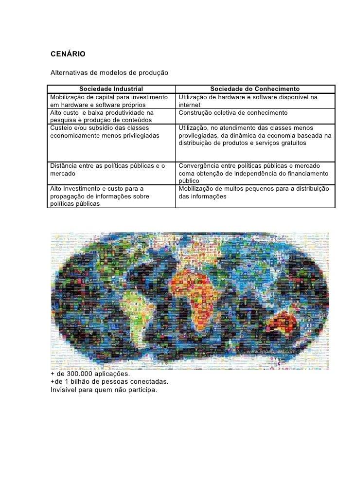 CENÁRIO  Alternativas de modelos de produção            Sociedade Industrial                         Sociedade do Conhecim...
