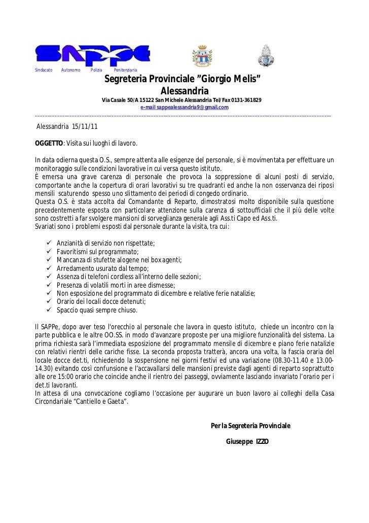 """Sindacato    Autonomo   Polizia     Penitenziaria                                  Segreteria Provinciale """"Giorgio Melis"""" ..."""