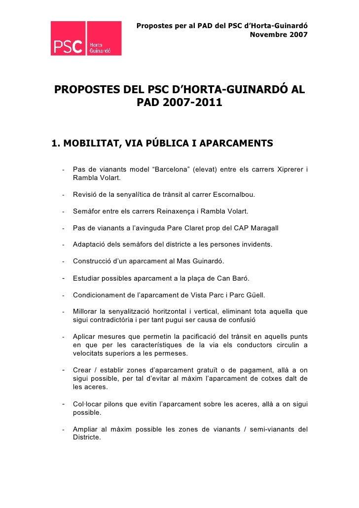 Propostes per al PAD del PSC d'Horta-Guinardó                                                        Novembre 2007     PRO...