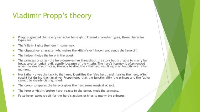 Vladimir Propp's theory  Propp suggested that every narrative has eight different character types, these character types ...