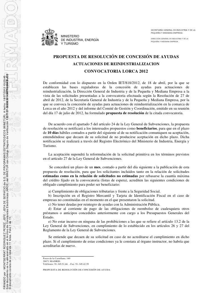 SECRETARÍA GENERAL DE INDUSTRIA Y DE LA                                                                                   ...