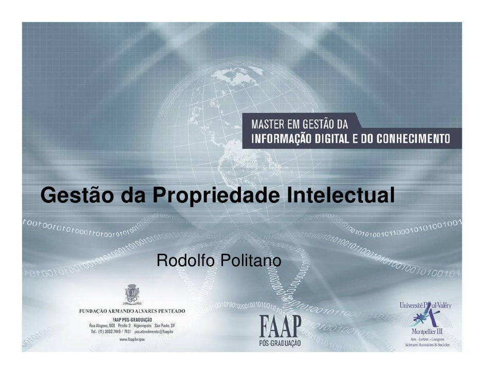 Gestão da Propriedade Intelectual          Rodolfo Politano