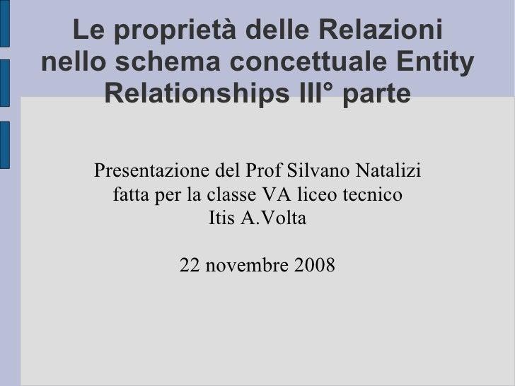 Le proprietà delle Relazioni nello schema concettuale Entity Relationships III° parte Presentazione del Prof Silvano Natal...