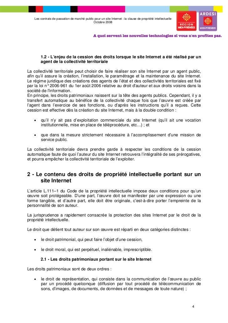 Les contrats de passation de march public pour un site for Le site internet