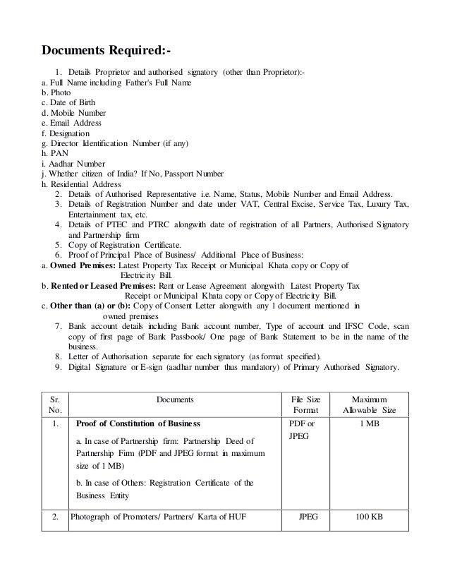 Proprietor GST Requirement List
