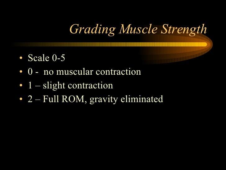 Grading Muscle Strength <ul><li>Scale 0-5 </li></ul><ul><li>0 -  no muscular contraction  </li></ul><ul><li>1 – slight con...