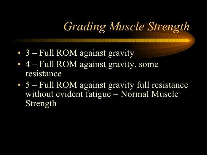 Grading Muscle Strength <ul><li>3 – Full ROM against gravity </li></ul><ul><li>4 – Full ROM against gravity, some resistan...