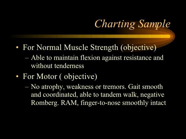 Charting Sample <ul><li>For Normal Muscle Strength (objective) </li></ul><ul><ul><li>Able to maintain flexion against resi...