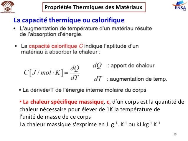 Propri t s thermiques des mat riaux - Capacite calorifique de l air ...