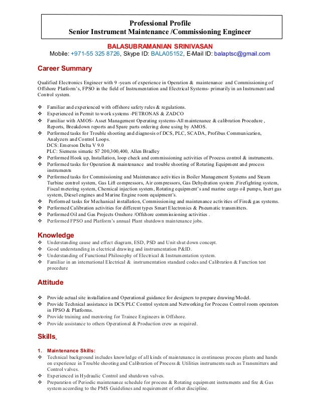 professional profile senior instrument maintenance commissioning engineer balasubramanian srinivasan mobile 971 55