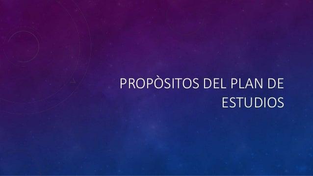 PROPÒSITOS DEL PLAN DE ESTUDIOS