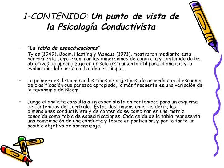 """1-CONTENIDO:  Un punto de vista de la Psicología Conductivista <ul><li>"""" La tabla de especificaciones"""" </li></ul><ul><li>T..."""