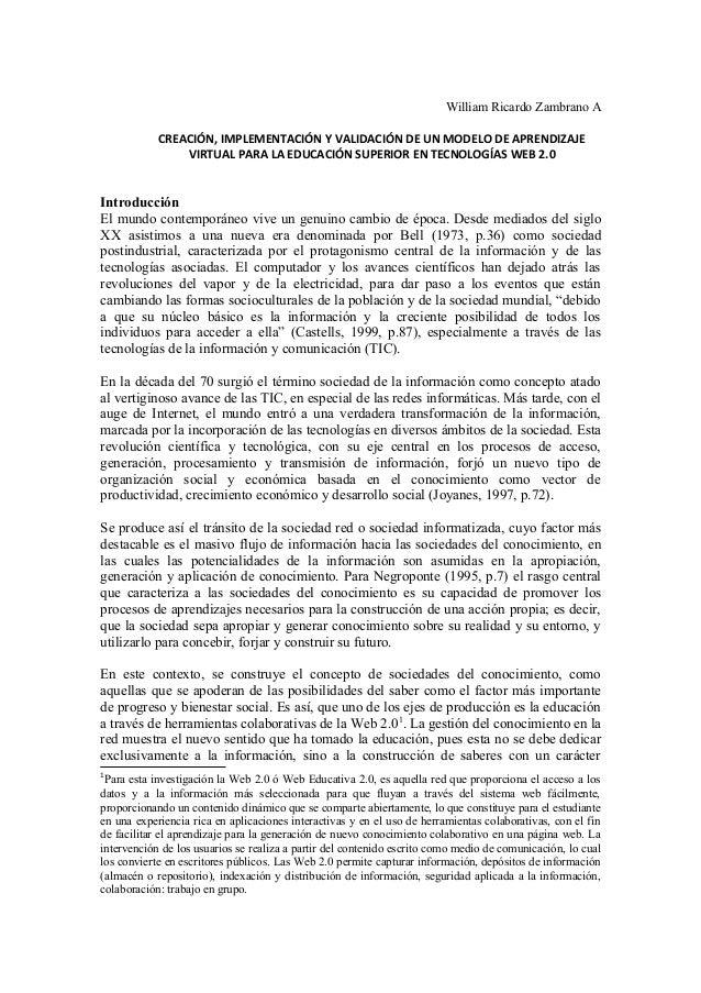 William Ricardo Zambrano A CREACIÓN, IMPLEMENTACIÓN Y VALIDACIÓN DE UN MODELO DE APRENDIZAJE VIRTUAL PARA LA EDUCACIÓN SUP...