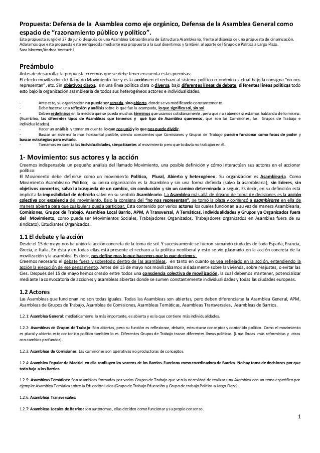 """Propuesta: Defensa de la Asamblea como eje orgánico, Defensa de la Asamblea General comoespacio de """"razonamiento público y..."""