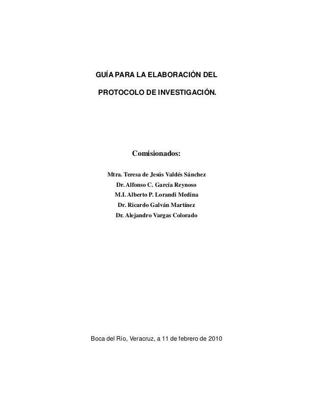 Propuesta de protocolo final para una investigación de carácter social