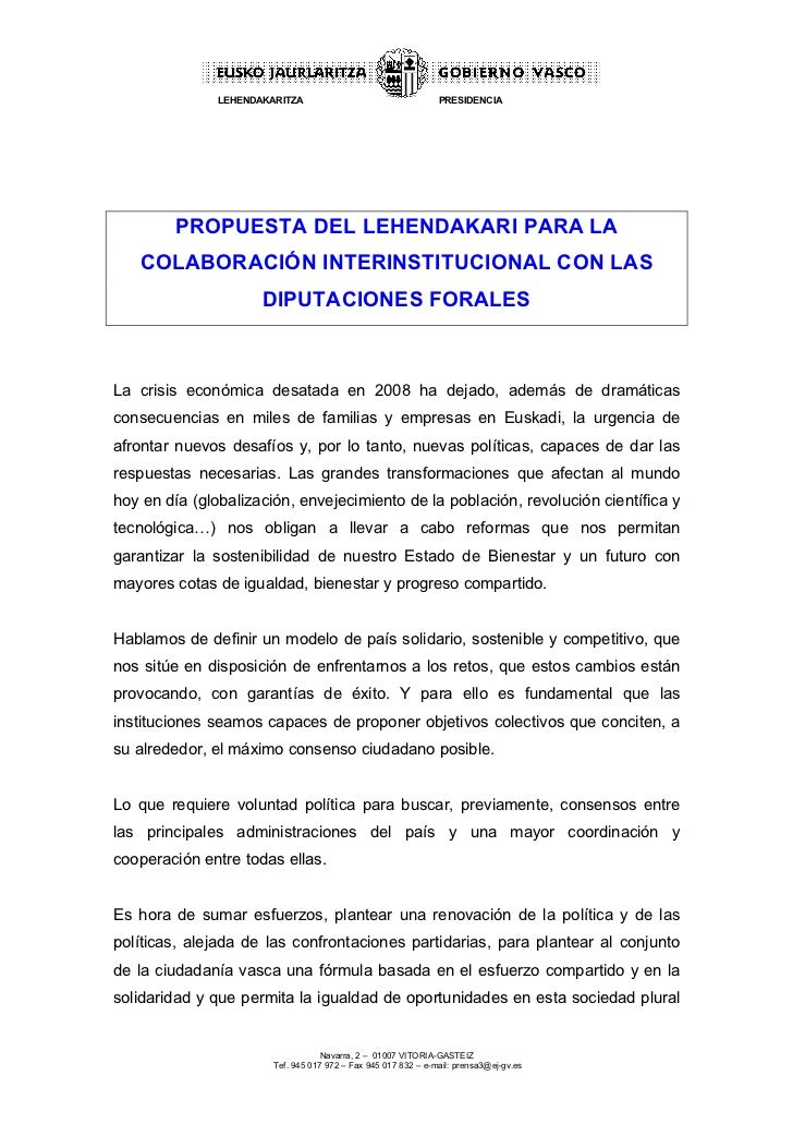 LEHENDAKARITZA                                   PRESIDENCIA        PROPUESTA DEL LEHENDAKARI PARA LA   COLABORACIÓN INTER...
