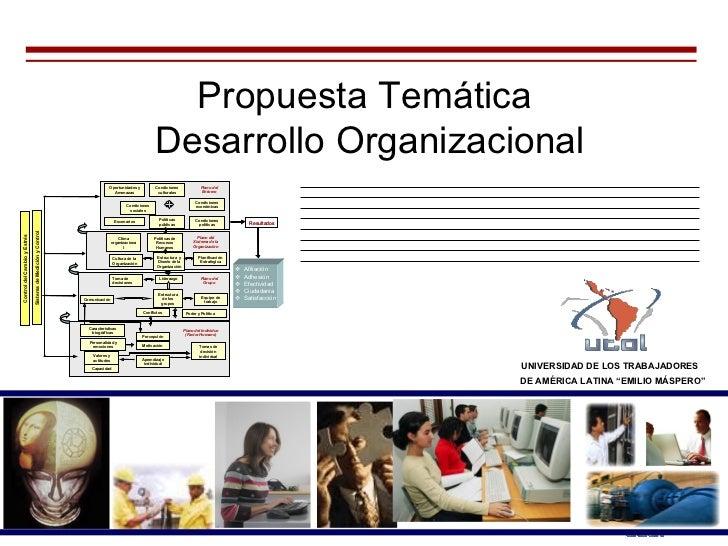 """Propuesta Temática  Desarrollo Organizacional UNIVERSIDAD DE LOS TRABAJADORES   DE AMÉRICA LATINA """"EMILIO MÁSPERO"""""""