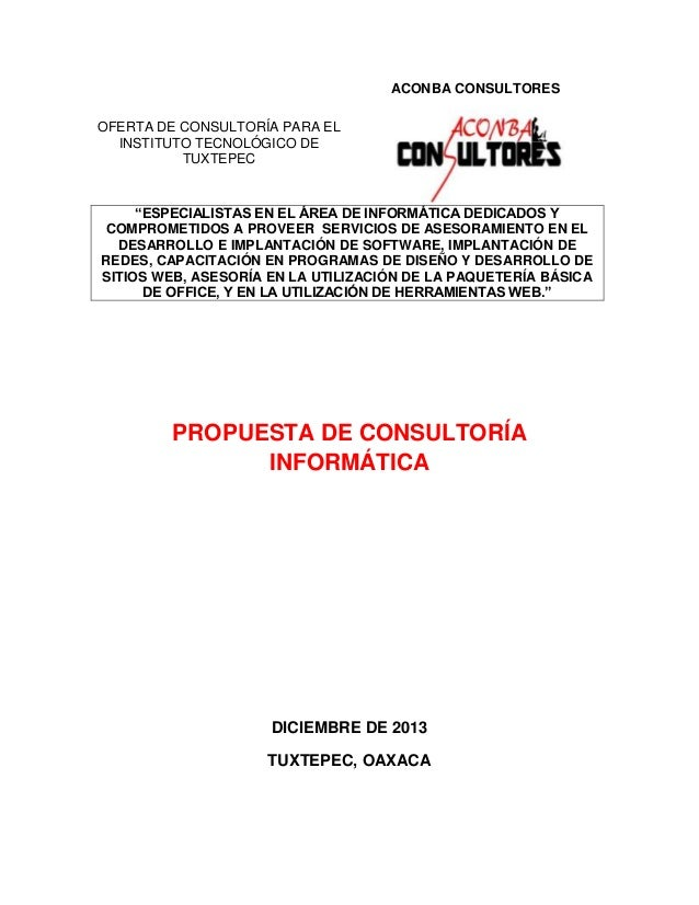 """ACONBA CONSULTORES OFERTA DE CONSULTORÍA PARA EL INSTITUTO TECNOLÓGICO DE TUXTEPEC  """"ESPECIALISTAS EN EL ÁREA DE INFORMÁTI..."""