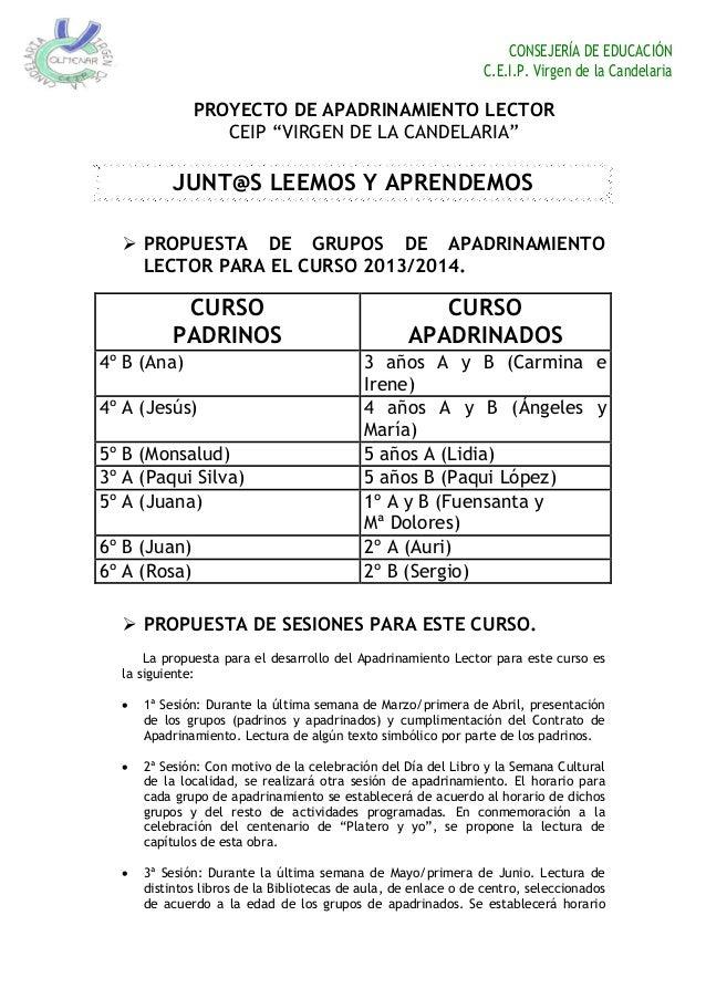 """CONSEJERÍA DE EDUCACIÓN C.E.I.P. Virgen de la Candelaria PROYECTO DE APADRINAMIENTO LECTOR CEIP """"VIRGEN DE LA CANDELARIA"""" ..."""