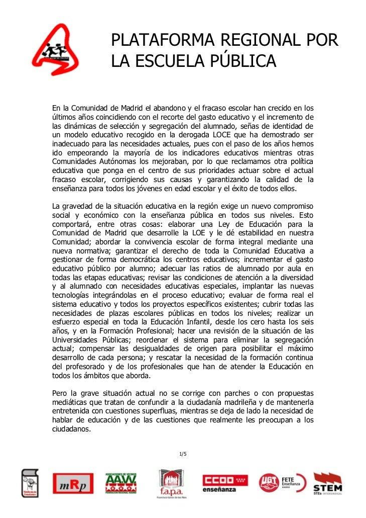 Propuesta ciudadana   por otra educación en madrid Slide 2