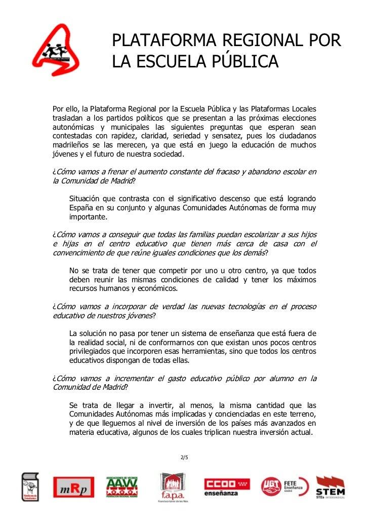 Propuesta ciudadana   por otra educación en madrid Slide 3