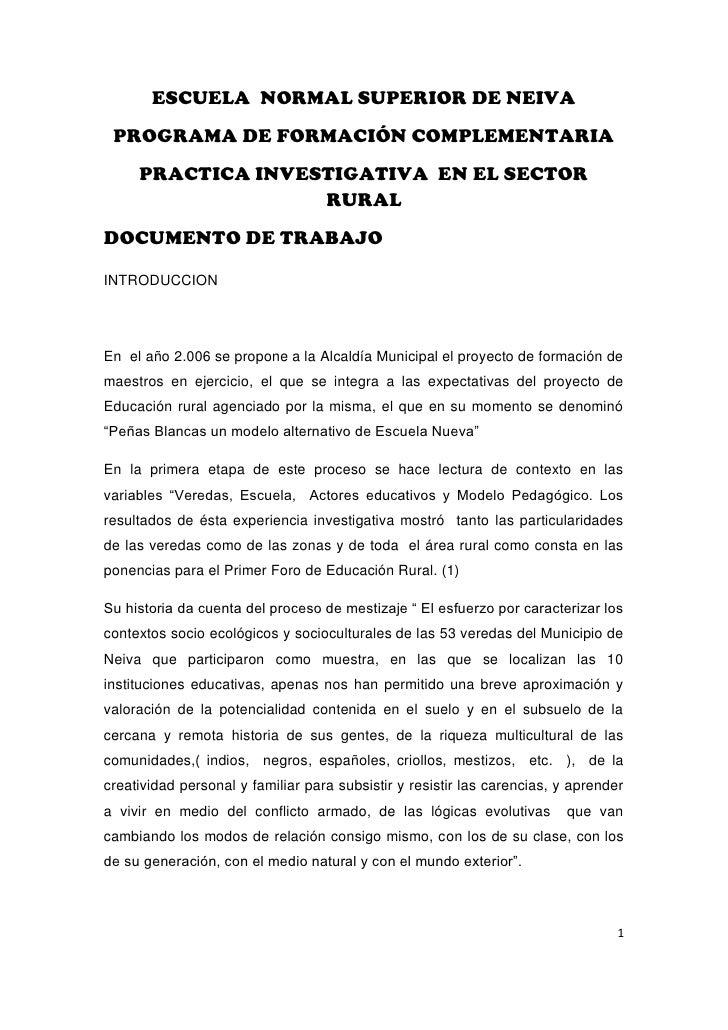 ESCUELA NORMAL SUPERIOR DE NEIVA PROGRAMA DE FORMACIÓN COMPLEMENTARIA     PRACTICA INVESTIGATIVA EN EL SECTOR             ...