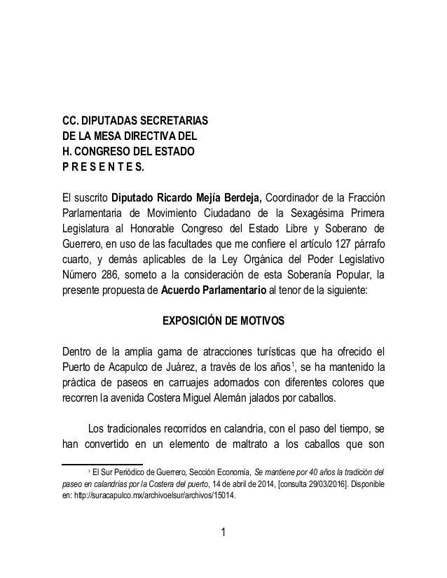 CC. DIPUTADAS SECRETARIAS DE LA MESA DIRECTIVA DEL H. CONGRESO DEL ESTADO P R E S E N T E S. El suscrito Diputado Ricardo ...