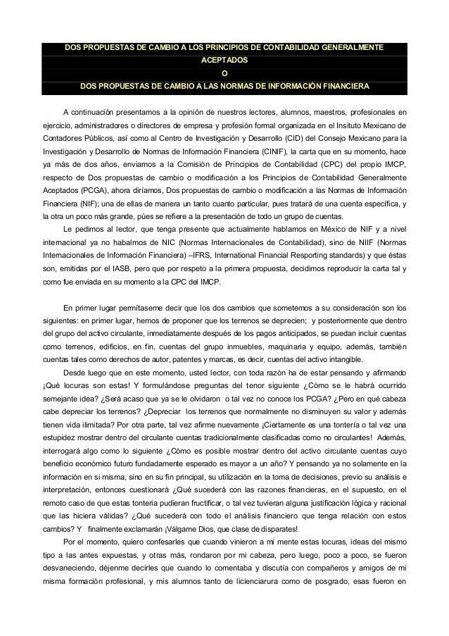 DOS PROPUESTAS DE CAMBIO A LOS PRINCIPIOS DE CONTABILIDAD GENERALMENTE                                                 ACE...