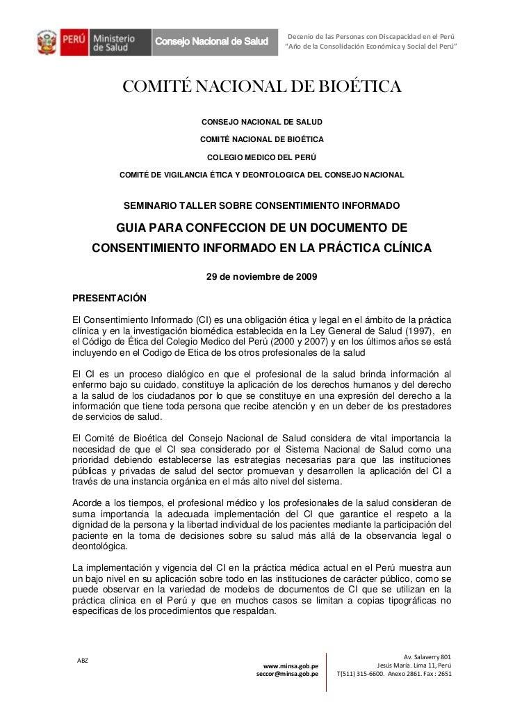 """Decenio de las Personas con Discapacidad en el Perú                    Consejo Nacional de Salud        """"Año de la Consoli..."""