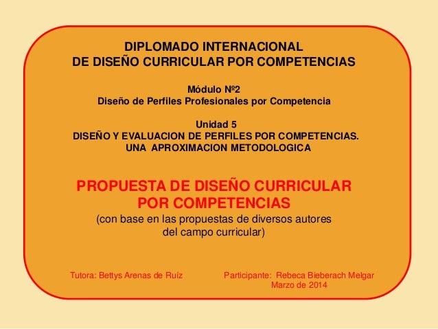 Propuesta De Diseño Curricular Por Competencias