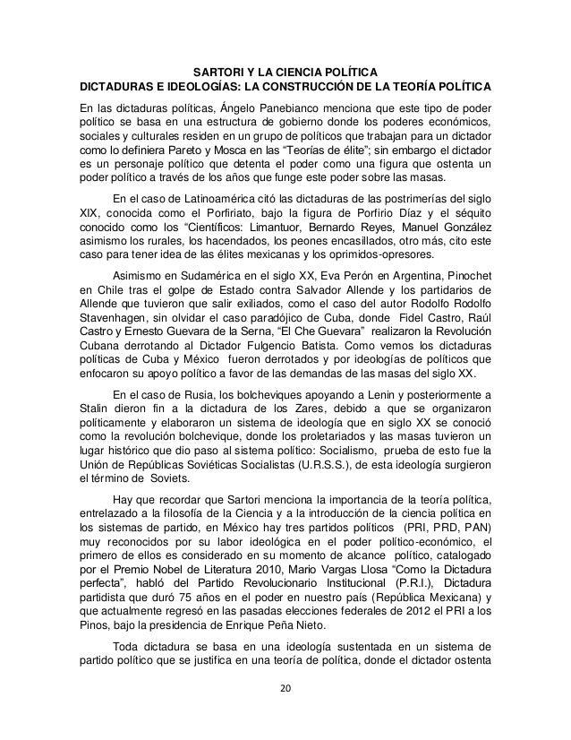 20 SARTORI Y LA CIENCIA POLÍTICA DICTADURAS E IDEOLOGÍAS: LA CONSTRUCCIÓN DE LA TEORÍA POLÍTICA En las dictaduras política...