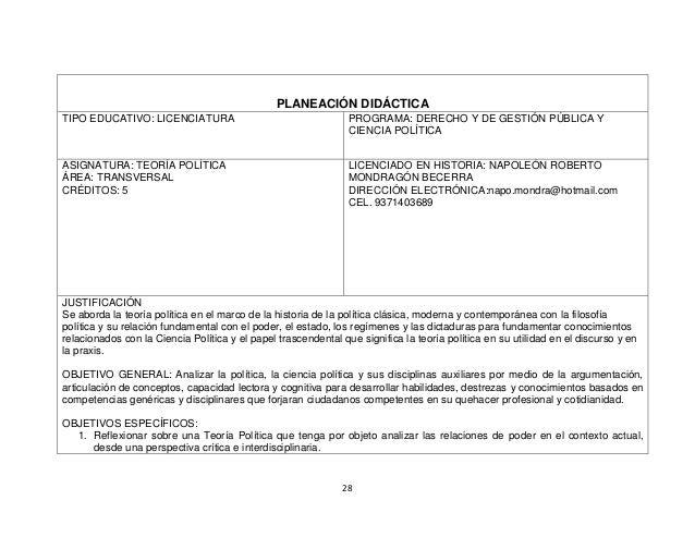 28 PLANEACIÓN DIDÁCTICA TIPO EDUCATIVO: LICENCIATURA PROGRAMA: DERECHO Y DE GESTIÓN PÚBLICA Y CIENCIA POLÍTICA ASIGNATURA:...