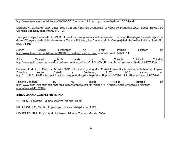 34 http://www.terras.edu.ar/biblioteca/10/10ECP_Pasquino_Unidad_1.pdf consultado el 15/07/2014 Marconi, R., Salvador. (200...