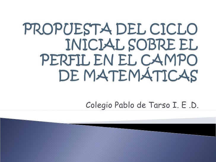 Colegio Pablo de Tarso I. E .D.