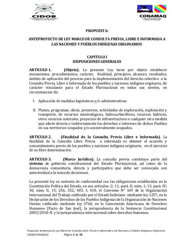 PROPUESTA: ANTEPROYECTO DE LEY MARCO DE CONSULTA PREVIA, LIBRE E INFORMADA A           LAS NACIONES Y PUEBLOS INDÍGENAS OR...