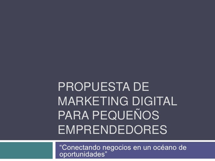 """Propuesta de Marketing digital para pequeños emprendedores<br />""""Conectando negocios en un océano de oportunidades""""<br />"""