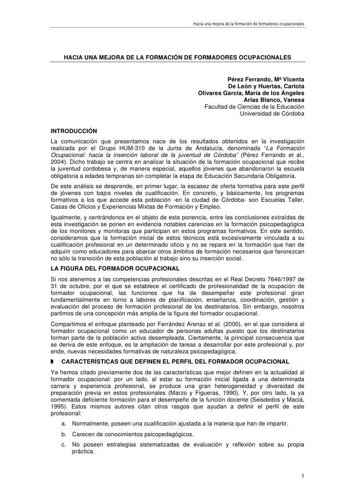 Hacia una mejora de la formación de formadores ocupacionales          HACIA UNA MEJORA DE LA FORMACIÓN DE FORMADORES OCUPA...