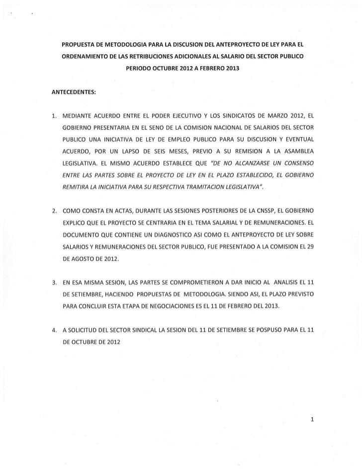 Propuesta de metodología para la discusión de anteproyecto de ordenamiento de remuneraciones