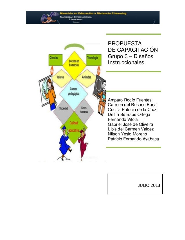 PROPUESTA DE CAPACITACIÓN Grupo 3 – Diseños Instruccionales Amparo Rocío Fuentes Carmen del Rosario Borja Cecilia Patricia...