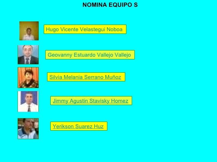 Hugo Vicente  Velastegui  Noboa   Geovanny  Estuardo Vallejo  Vallejo   Silvia Melania Serrano Muñoz   Jimmy  Agustin   St...