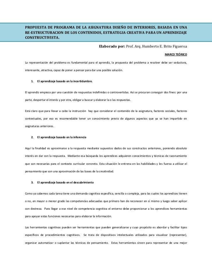 Propuesta de programa diseno de interiores for Programa de diseno interiores