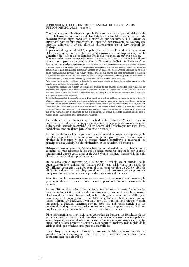 C. PRESIDENTE DEL CONGRESO GENERAL DE LOS ESTADOS          UNIDOS MEXICANOS P r e s e n t e .          Con fundamento en l...