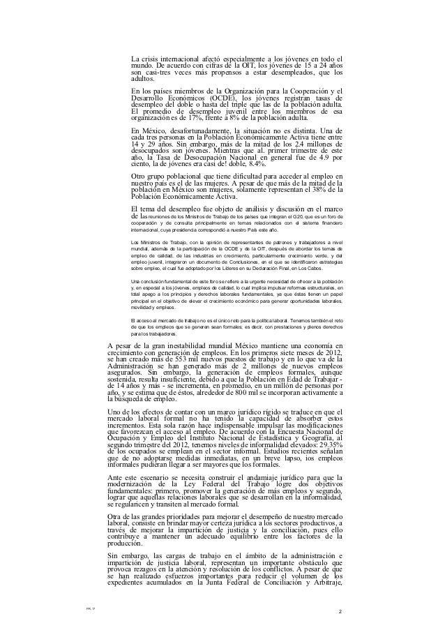 Propuesta de reforma laboral de felipe calderón Slide 2