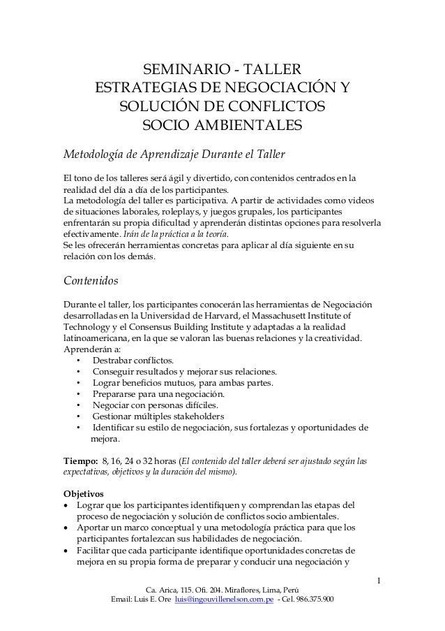 1 Ca. Arica, 115. Ofi. 204. Miraflores, Lima, Perú Email: Luis E. Ore luis@ingouvillenelson.com.pe - Cel. 986.375.900 SEMI...