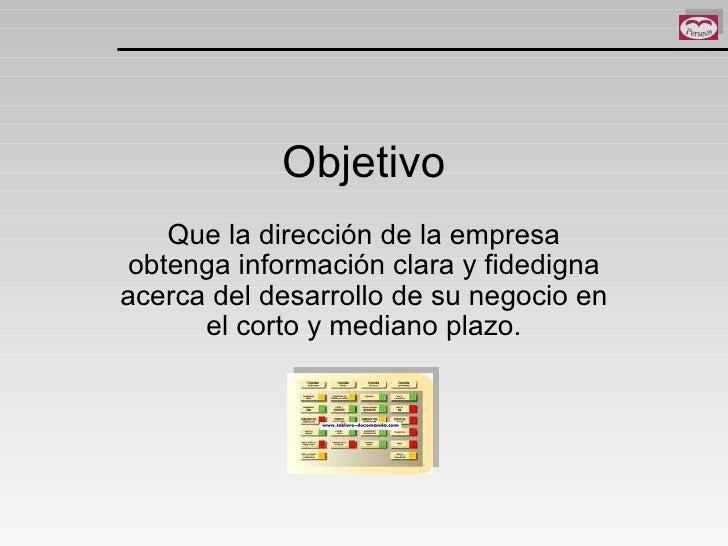 Objetivo Que la dirección de la empresa obtenga información clara y fidedigna acerca del desarrollo de su negocio en el co...