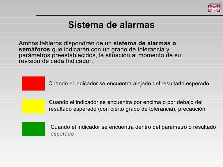 Sistema de alarmas Ambos tableros dispondrán de un  sistema de alarmas o semáforos  que indicarán con un grado de toleranc...
