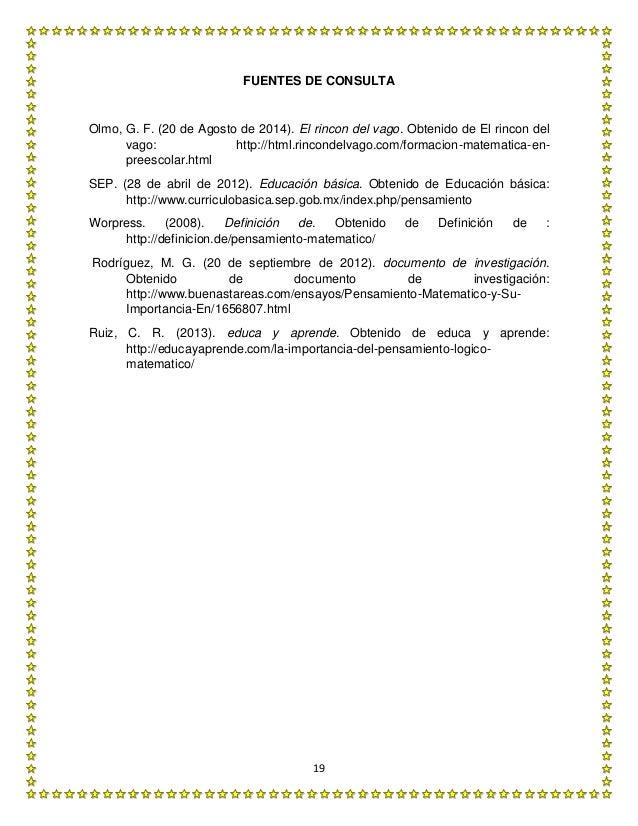 19 FUENTES DE CONSULTA Olmo, G. F. (20 de Agosto de 2014). El rincon del vago. Obtenido de El rincon del vago: http://html...