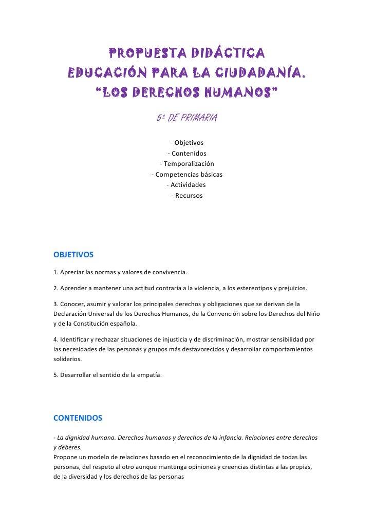 """PROPUESTA DIDÁCTICA     EDUCACIÓN PARA LA CIUDADANÍA.               """"LOS DERECHOS HUMANOS""""                                ..."""