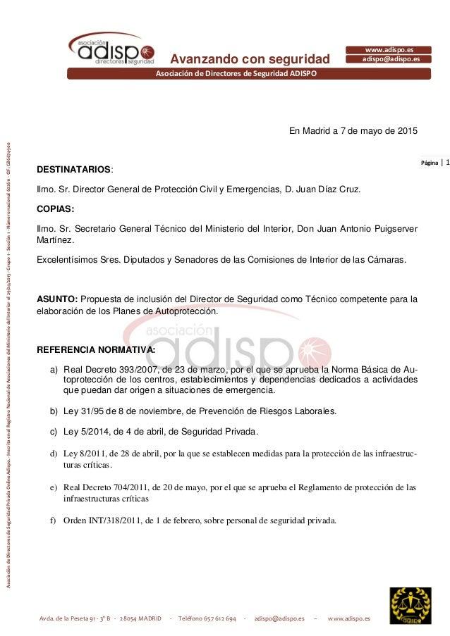 Avda. de la Peseta 91 - 3º B - 28054 MADRID - Teléfono 657 612 694 - adispo@adispo.es – www.adispo.es Asociación de Direct...