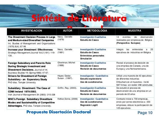 Page 10Propuesta Disertación Doctoral Sintésis de Literatura RevisadaINVESTIGACION AUTOR METODOLOGIA MUESTRA The Divestmen...